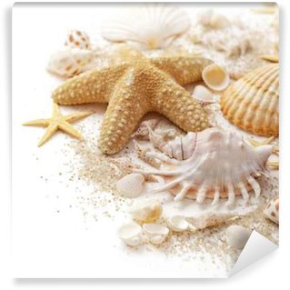 Wall Mural - Vinyl seashells and sand on white background