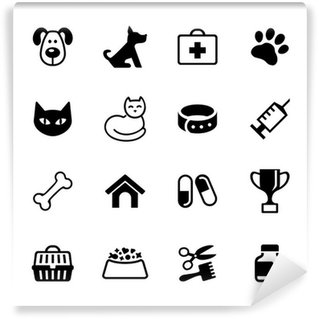 Wall Mural - Vinyl Set 16 icons - pets, vet clinic, veterinary medicine