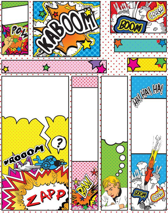 Set of Cartoon Pop Art Style Banners in Standard Sizes