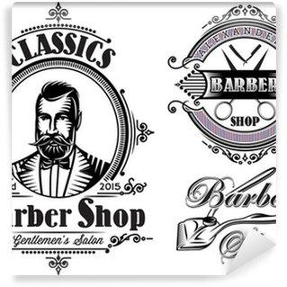 set of emblems on a theme barber shop Wall Mural - Vinyl
