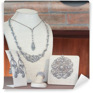 Wall Mural - Vinyl Set of jewelry : necklace, pendant, earring and ring