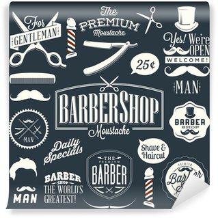 Set of vintage barber shop labels Wall Mural - Vinyl
