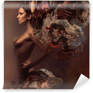 Wall Mural - Vinyl sexy pretty woman in burning paper