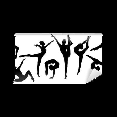 Silhouette gymnast dancer set of ballerina female for Pose poster mural