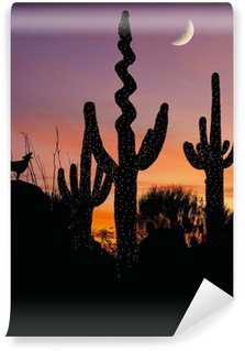 Silhouette of a coyote howling at a decorated saguaro cactus Wall Mural - Vinyl