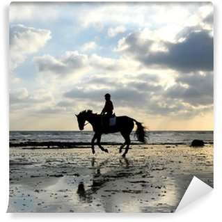 Silhouette of Horse Rider Galloping on the Beach Wall Mural - Vinyl