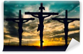 Silhouette of Jesus with Cross over sunset concept for religion,