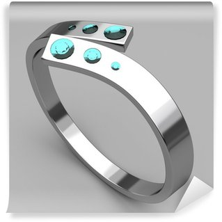 Wall Mural - Vinyl Silver ring with turquoise diamonds
