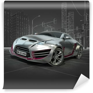 Wall Mural - Vinyl Silver sports car. Original car design.