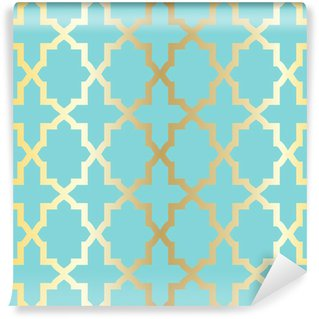 Simple abstract arabesque pattern - turquoise and golden. Wall Mural - Vinyl