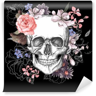 Skull and Flowers Day of The Dead Wall Mural - Vinyl