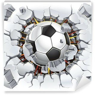 Vinyl Wall Mural Soccer ball and Old Plaster wall damage. Vector illustration