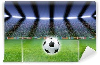 Soccer ball, stadium, spotlights