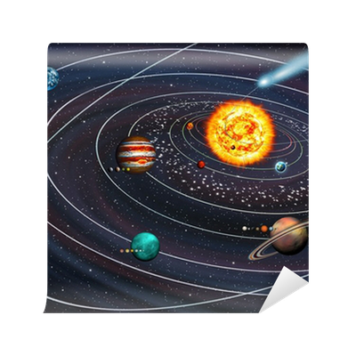 Solar System: 9 planets with moons on their orbits and ...