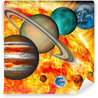 Solar System: the comparative size of the planets and Sun. Wall Mural - Vinyl