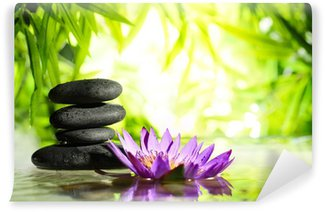 Spa still life with lotus and zen stone on water Wall Mural - Vinyl