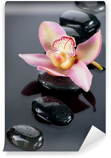 Spa Stones and Orchid Flower over Dark Background Wall Mural - Vinyl