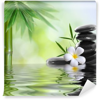 Wall Mural - Vinyl spa stones with frangipani