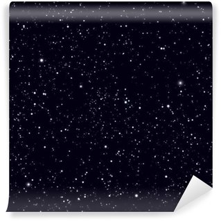 Space with stars vector background. Galaxy and planets in cosmos pattern Wall Mural - Vinyl