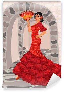 Wall Mural - Vinyl Spanish woman in style of a flamenco