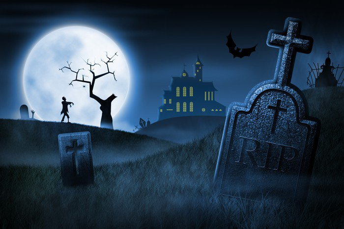wall mural vinyl spooky halloween night themes - Halloween Wall Mural