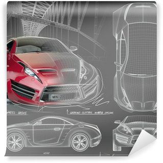 Wall Mural - Vinyl Sports car blueprints. Non branded concept car.