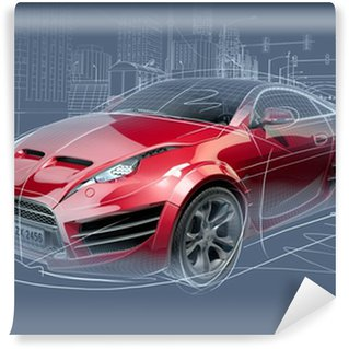 Wall Mural - Vinyl Sports car sketch. Original car design.