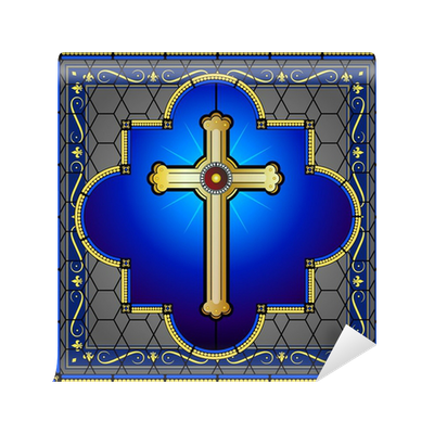 Stained glass cross with patterned background Wall Mural ...