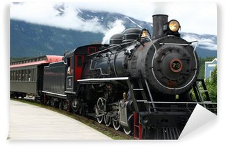 Wall Mural - Vinyl steam engine train leaving the station full of tourists