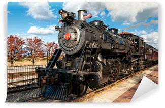 Wall Mural - Vinyl steam engine train leaving the station