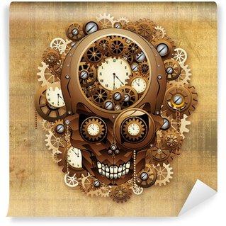 steampunk skull vintage meccanismo orologio wall mural vinyl
