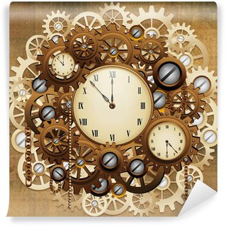 Steampunk wall murals change your space pixers for Clock wall mural