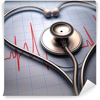 Wall Mural - Vinyl Stethoscope heart shape. Clipping path included.