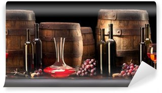 Wall Mural - Vinyl still life with red wine and old barrel
