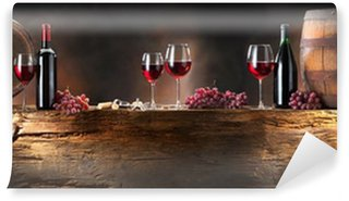 Wall Mural - Vinyl still life with red wine with barrel on old wood