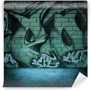 Wall Mural - Vinyl Street art graffiti wall background, urban grunge design.