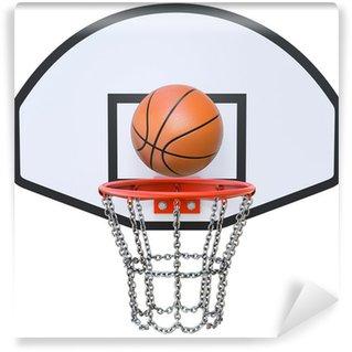 Wall Mural - Vinyl Street basketball kit with backboard, hoop, chain net and ball