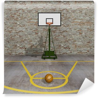 Basketball court vinyl wall murals pixers we live for Basketball court mural