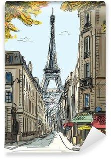 Wall Mural - Vinyl Street in paris - illustration