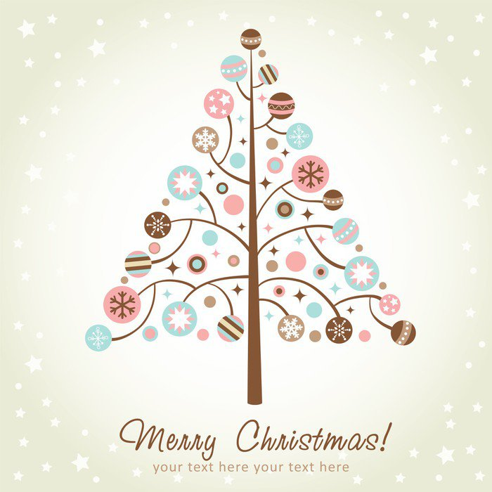 Wall Mural   Vinyl Stylized Design Christmas Tree   International  Celebrations Part 39