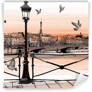 Wall Mural - Vinyl Sunset on Seine river from Pont des arts in Paris