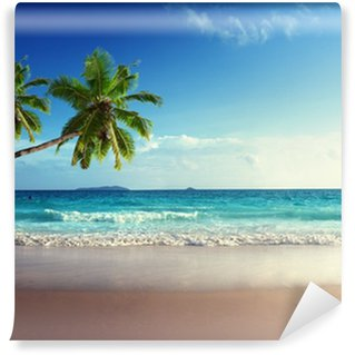 Wall Mural - Vinyl sunset on Seychelles beach