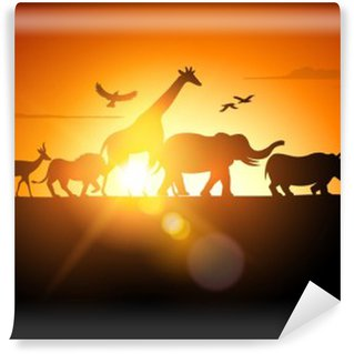 Sunset Safari Wall Mural - Vinyl