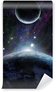 Sunset with two blue planet Wall Mural - Vinyl