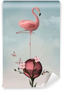 Wall Mural - Vinyl Surreal composition with flamingo and flowers