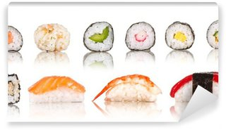 Wall Mural - Vinyl Sushi pieces collection, isolated on white background