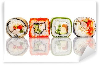 Wall Mural - Vinyl Sushi Roll on a white background