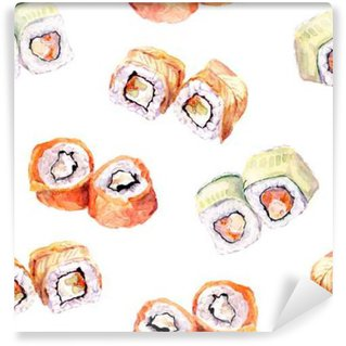 Wall Mural - Vinyl Sushi roll seamless pattern. Watercolor