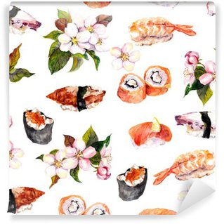Wall Mural - Vinyl Sushi, sakura flowers seamless repeat pattern. Watercolor food
