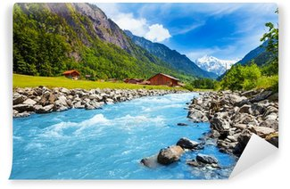 Swiss landscape with river stream and houses Wall Mural - Vinyl